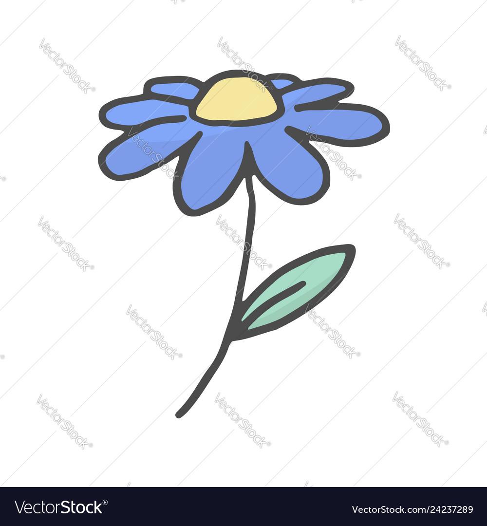 Doodle flower hand drawn color sketch flower