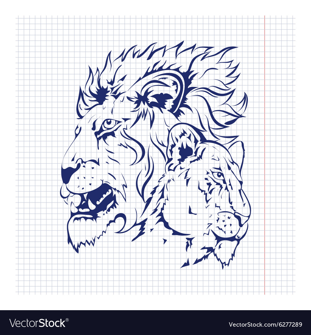 Hand drawn sketch of silhouette vector image