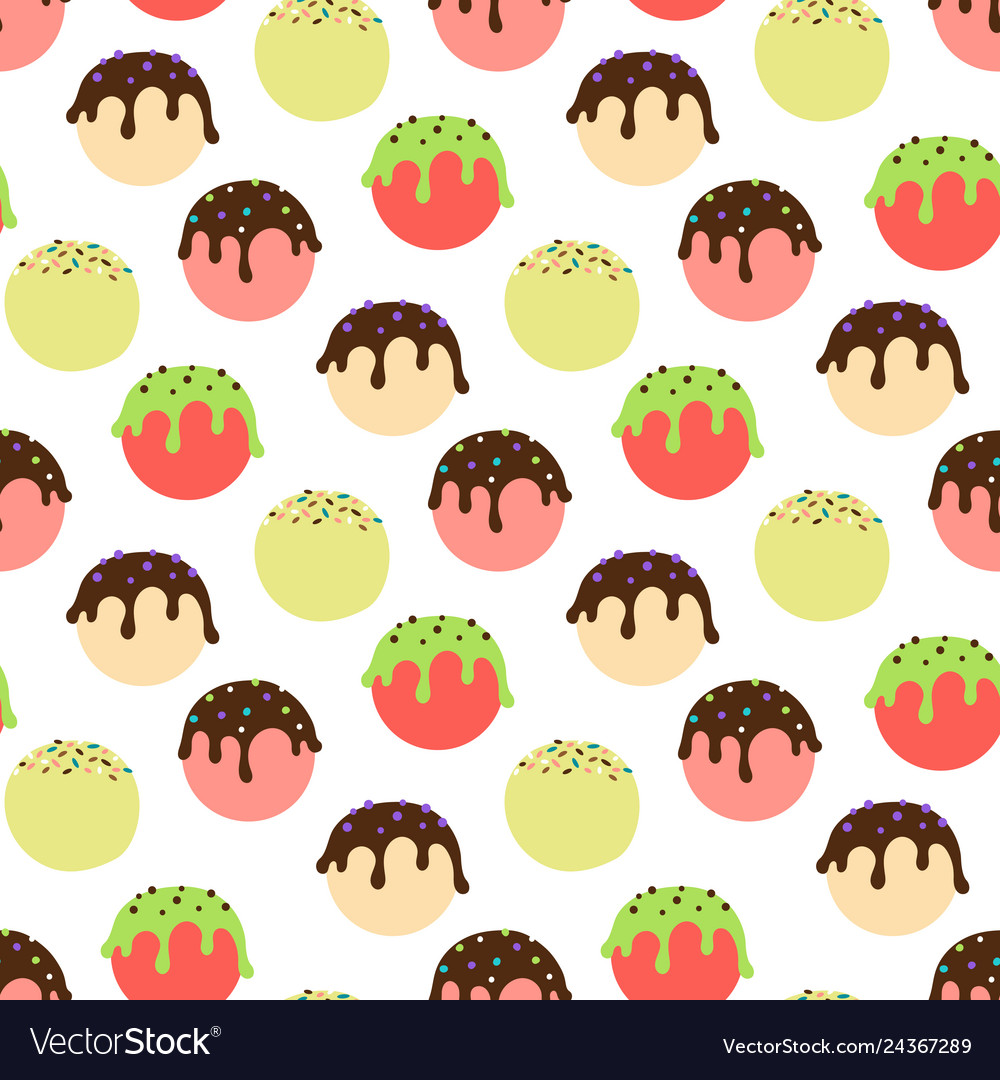 Ice cream balls seamless pattern colorful sweet