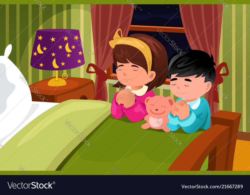 Kids praying before going to bed