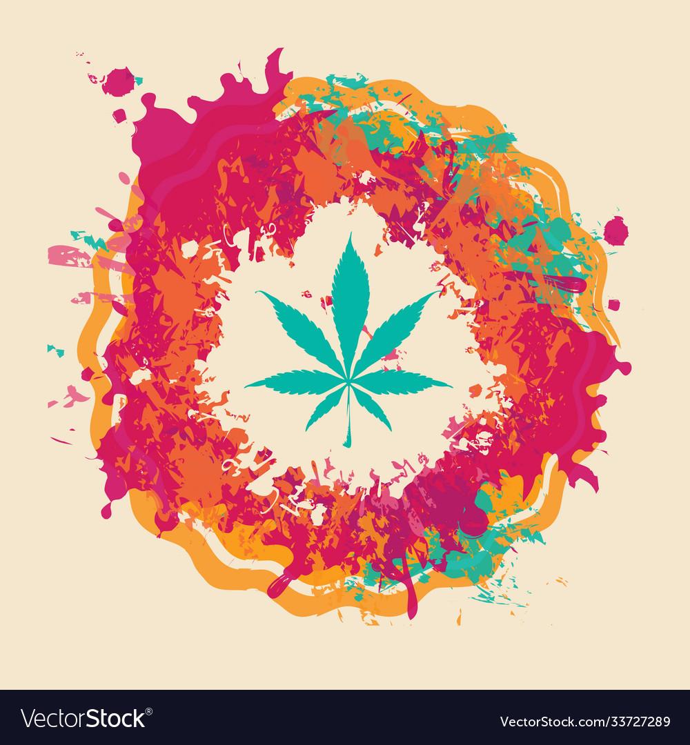 Marijuana banner cannabis leaf on bright spots