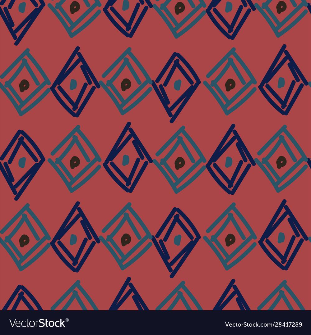 Rhombuses hand drawn abstract irregular shapes