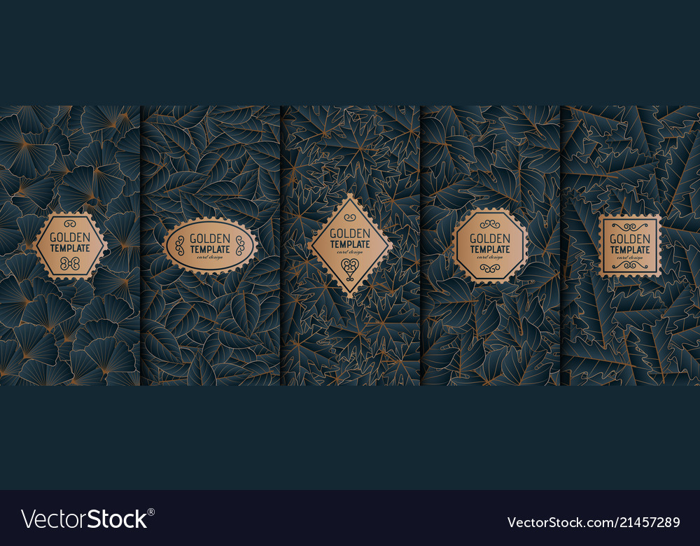 Set of golden luxury templates gold autumn leaves
