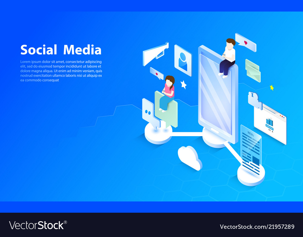 Social media concept flat and isometric style