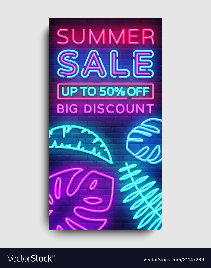 Summer Sale Vertical Banner Design Template Vector Image