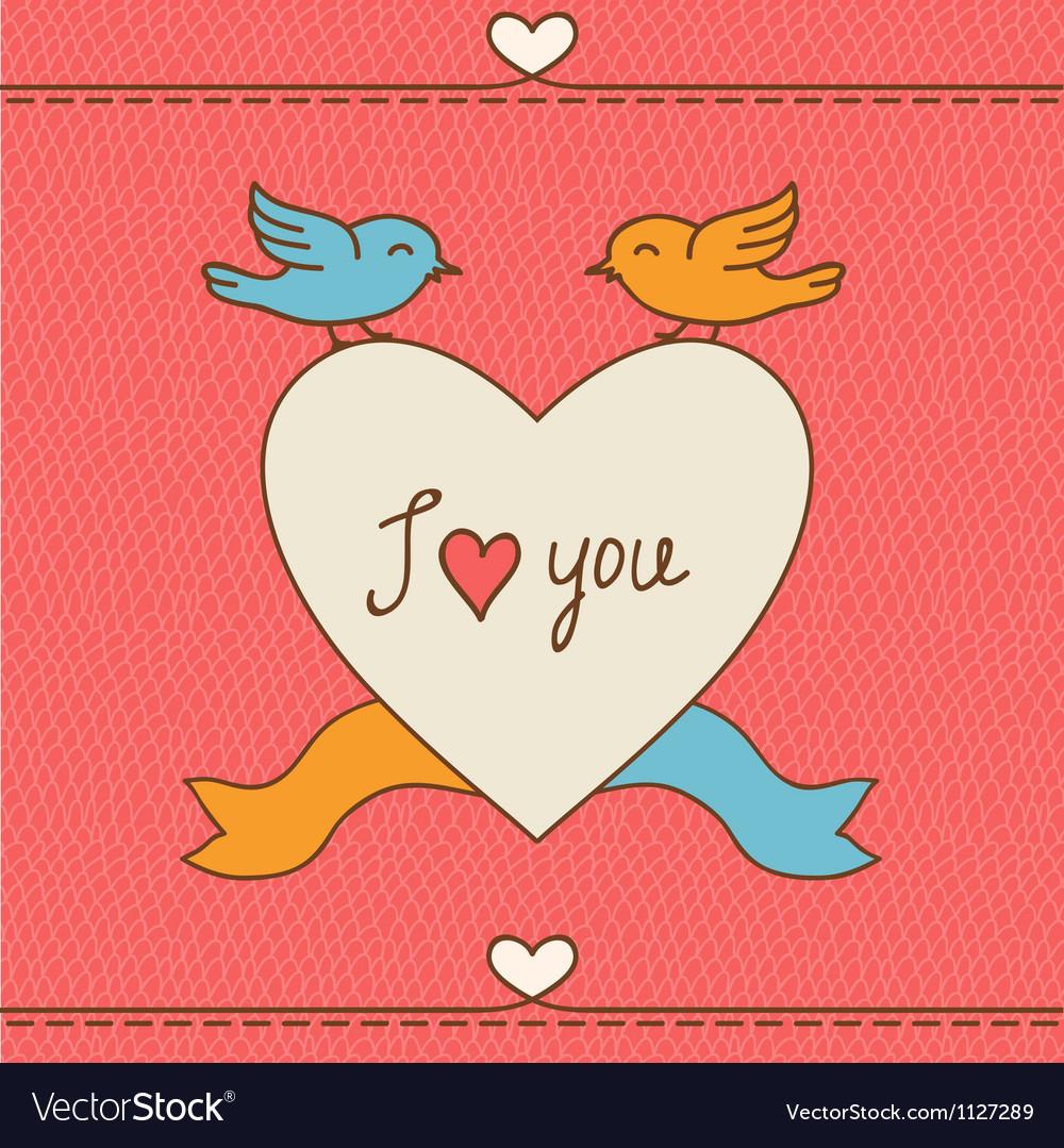 Открытка с птицей и сердечками на день святого валентина