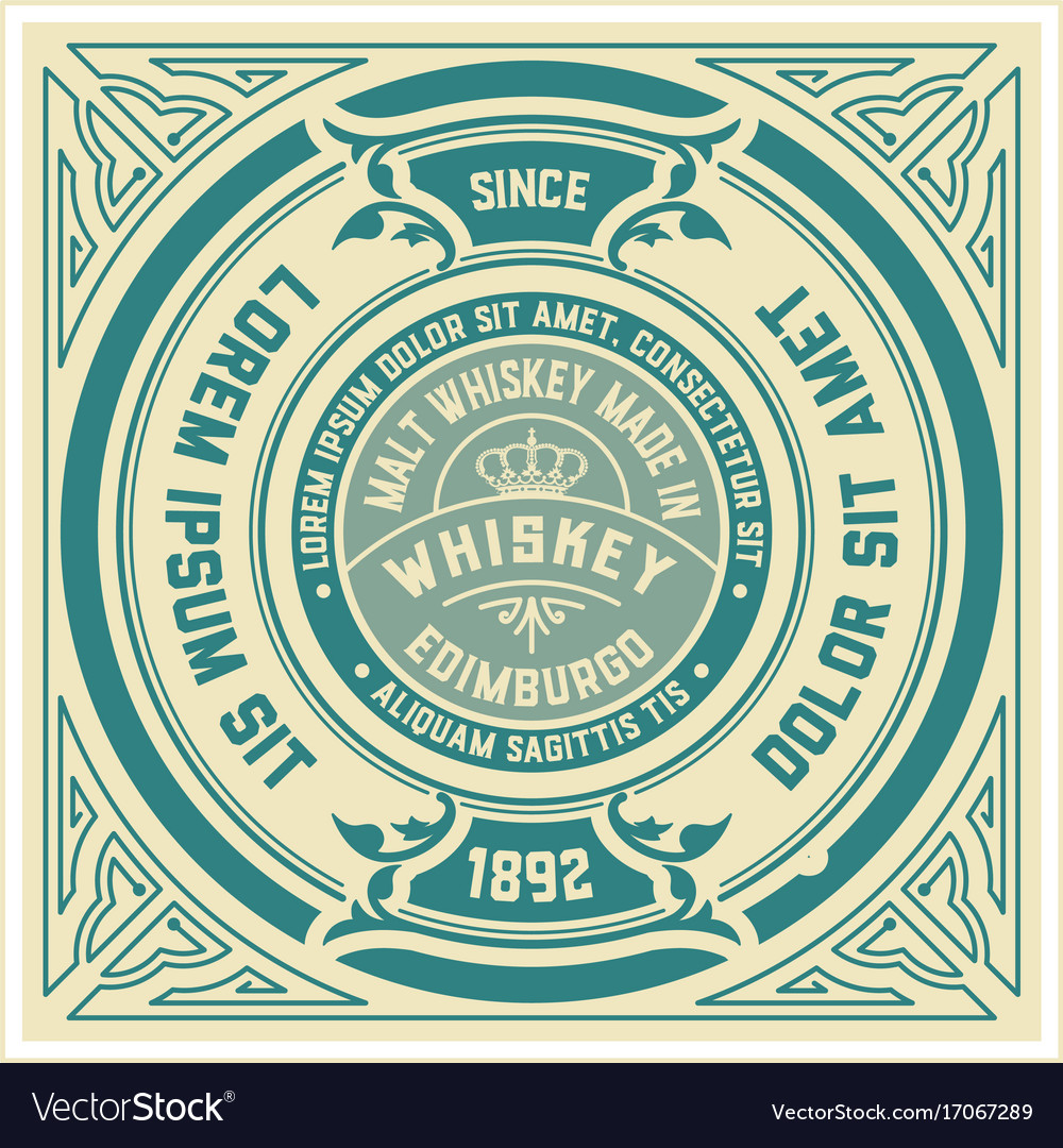 Whiskey label with old frames layered
