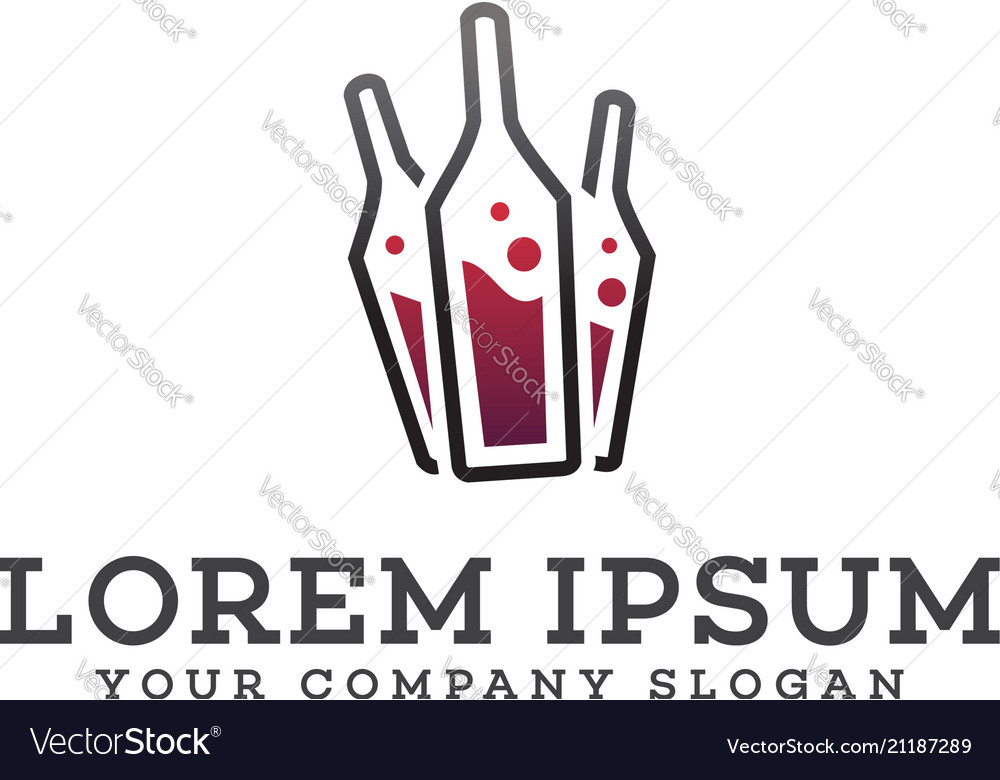 Wine bottle logo design concept template