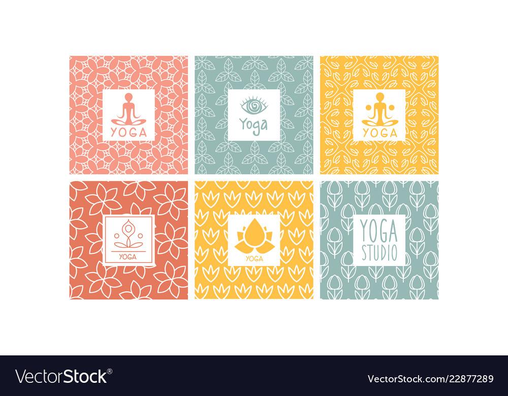 Yoga studio logo design set creative ornamental