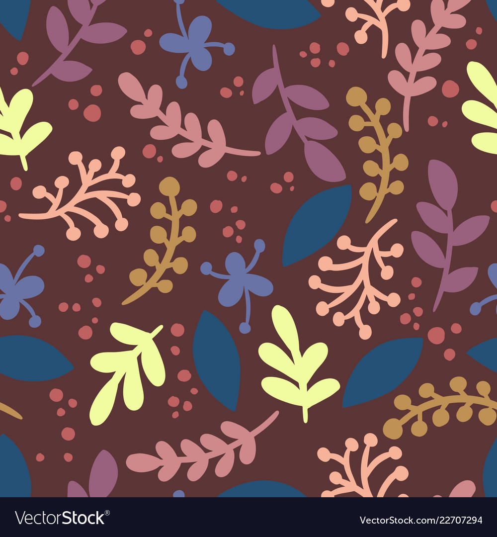 Abstract leafs retro seamless vintage pattern