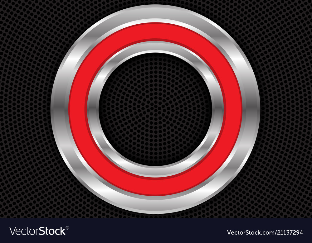 Abstract red silver circle on black mesh