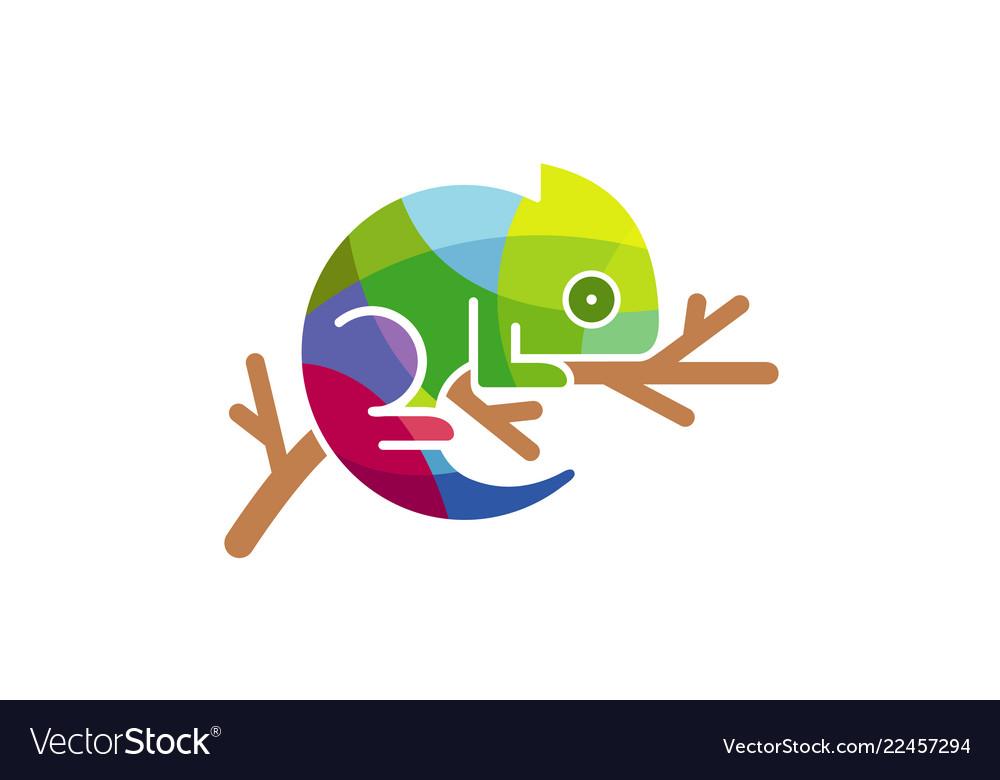 Chameleon colorful triangles logo