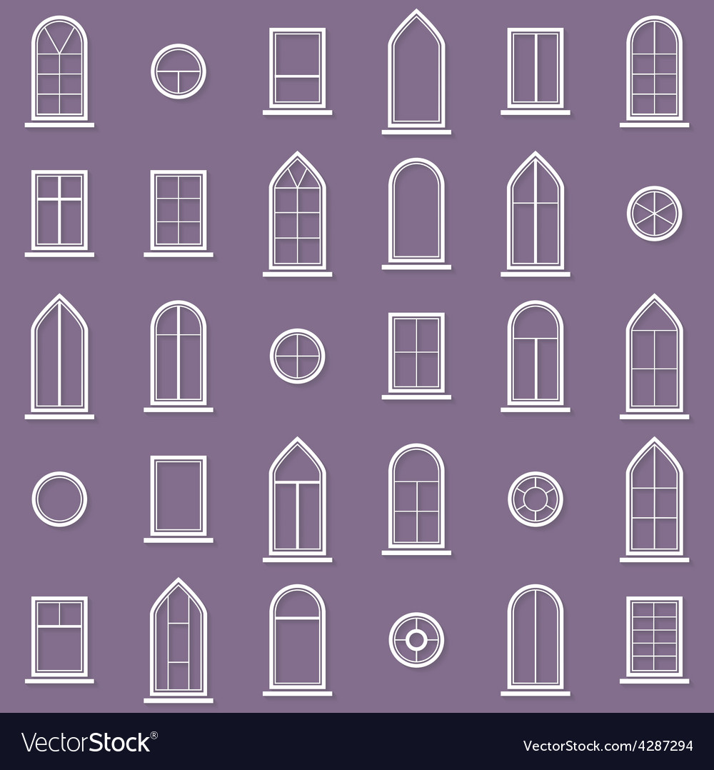 Diffe Types Of Windows Eps10 Vector Image