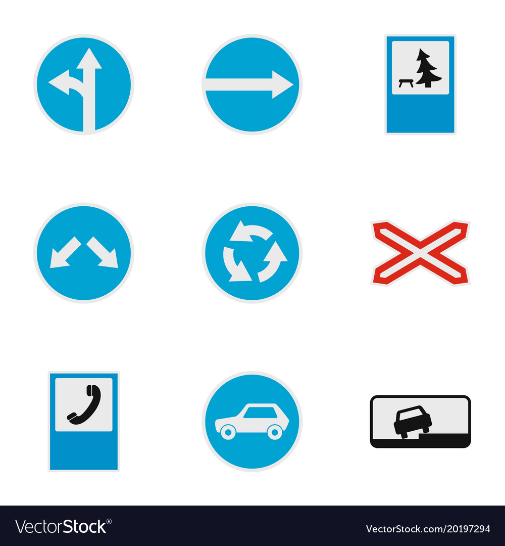 Direction sign icons set flat style
