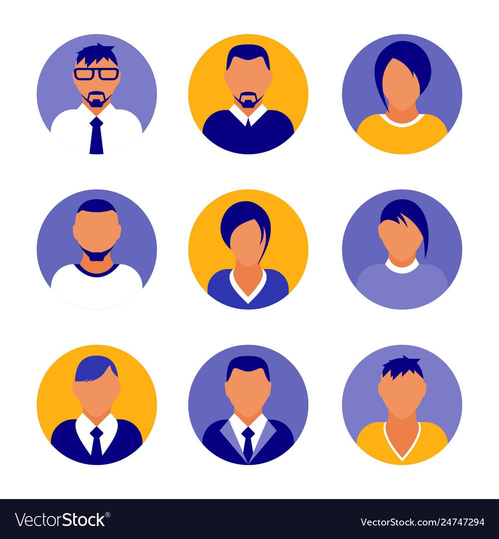 Flat modern purple minimal avatar icons business