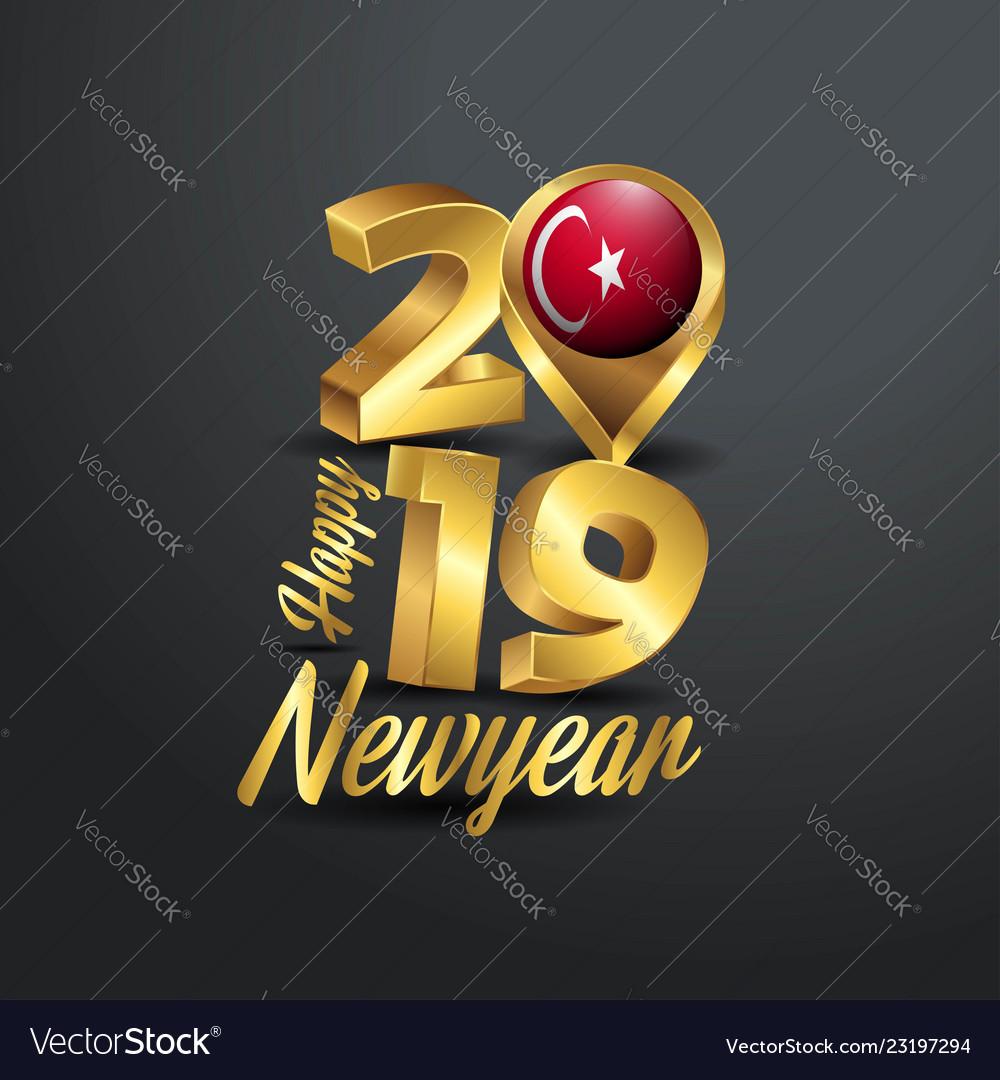 Happy new year 2019 golden typography with turkey vector image on  VectorStock