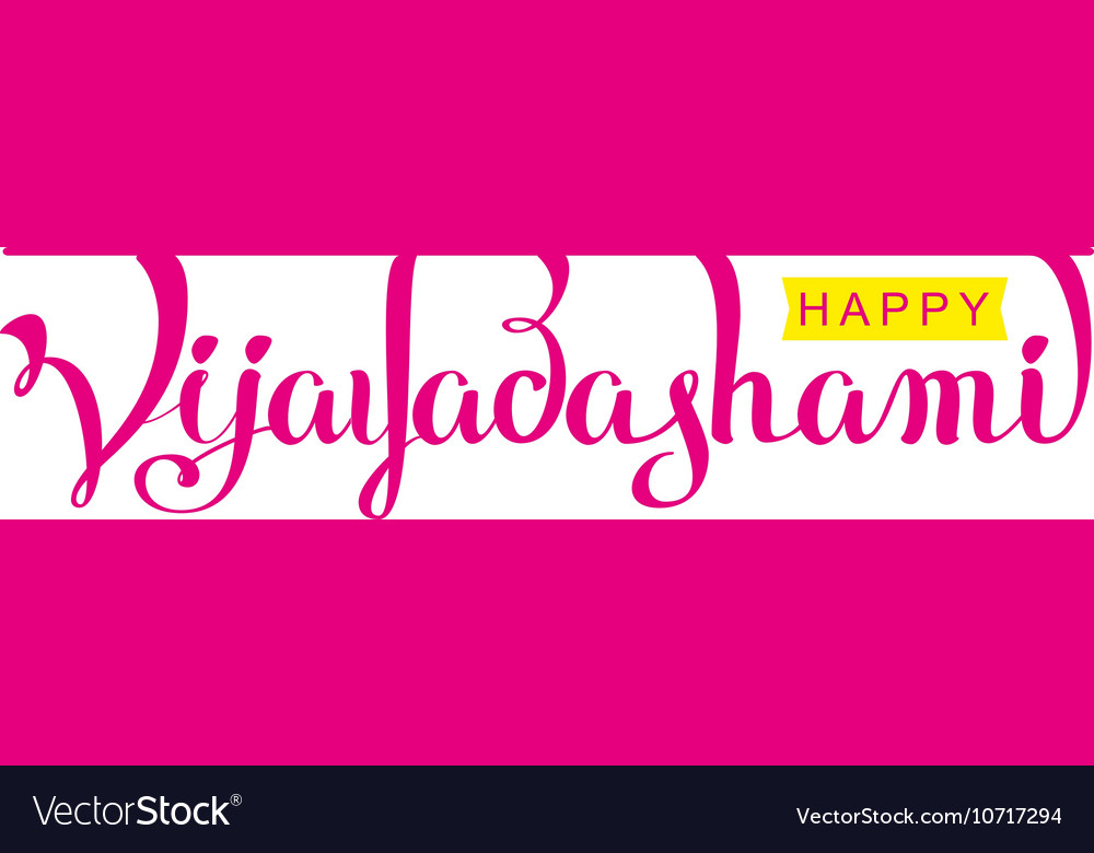 Happy Vijayadashami hindu festival Lettering text