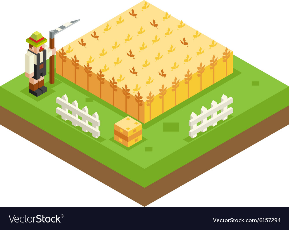 Isometric Farmer Scythe Wheat Field 3d Icon Symbol vector image