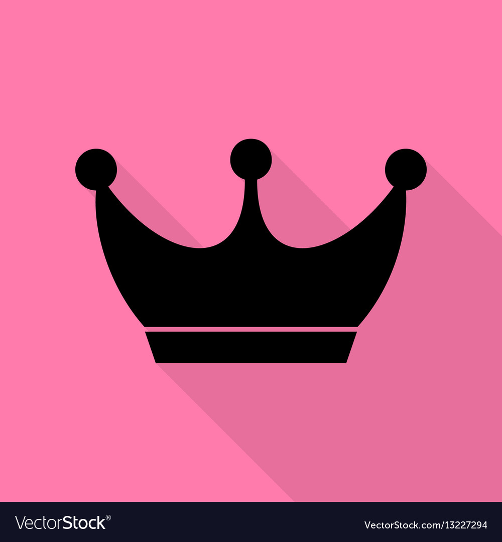 King crown sign black icon with flat style shadow