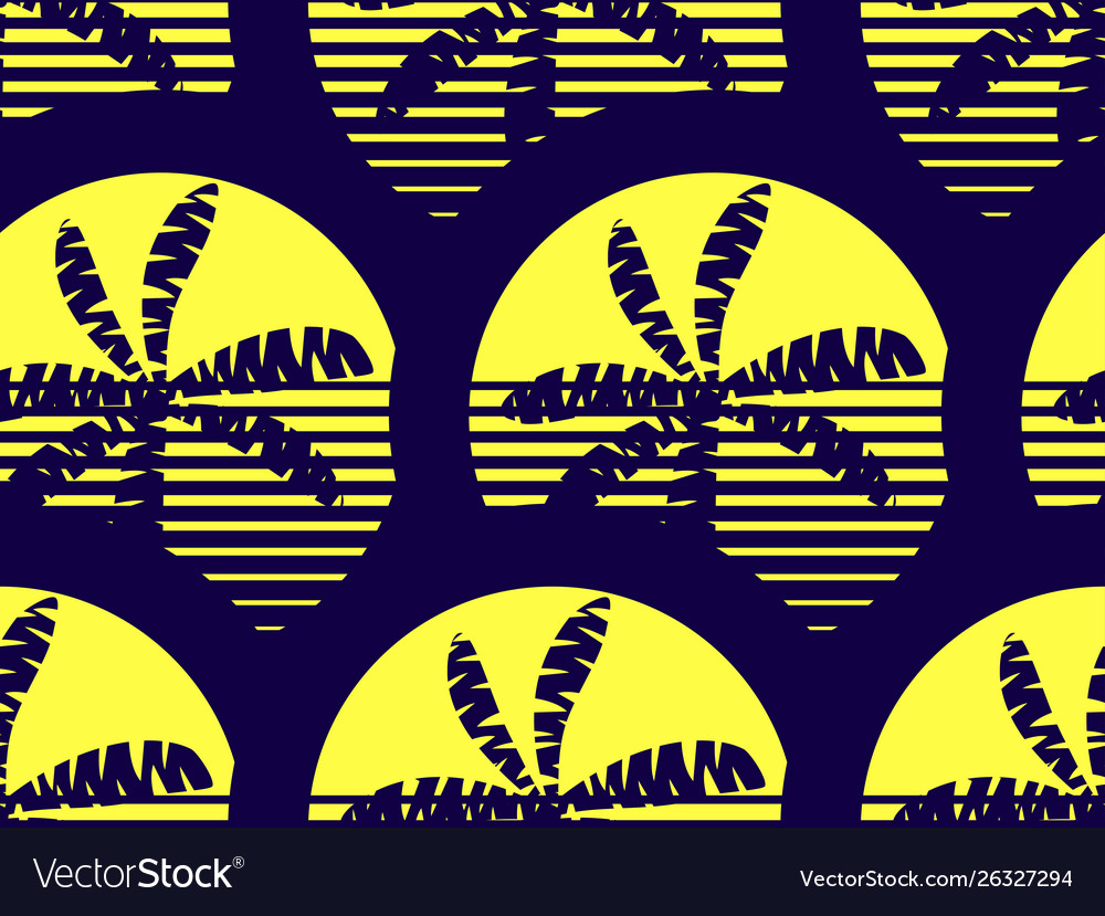 Palm trees and sun seamless pattern yellow and
