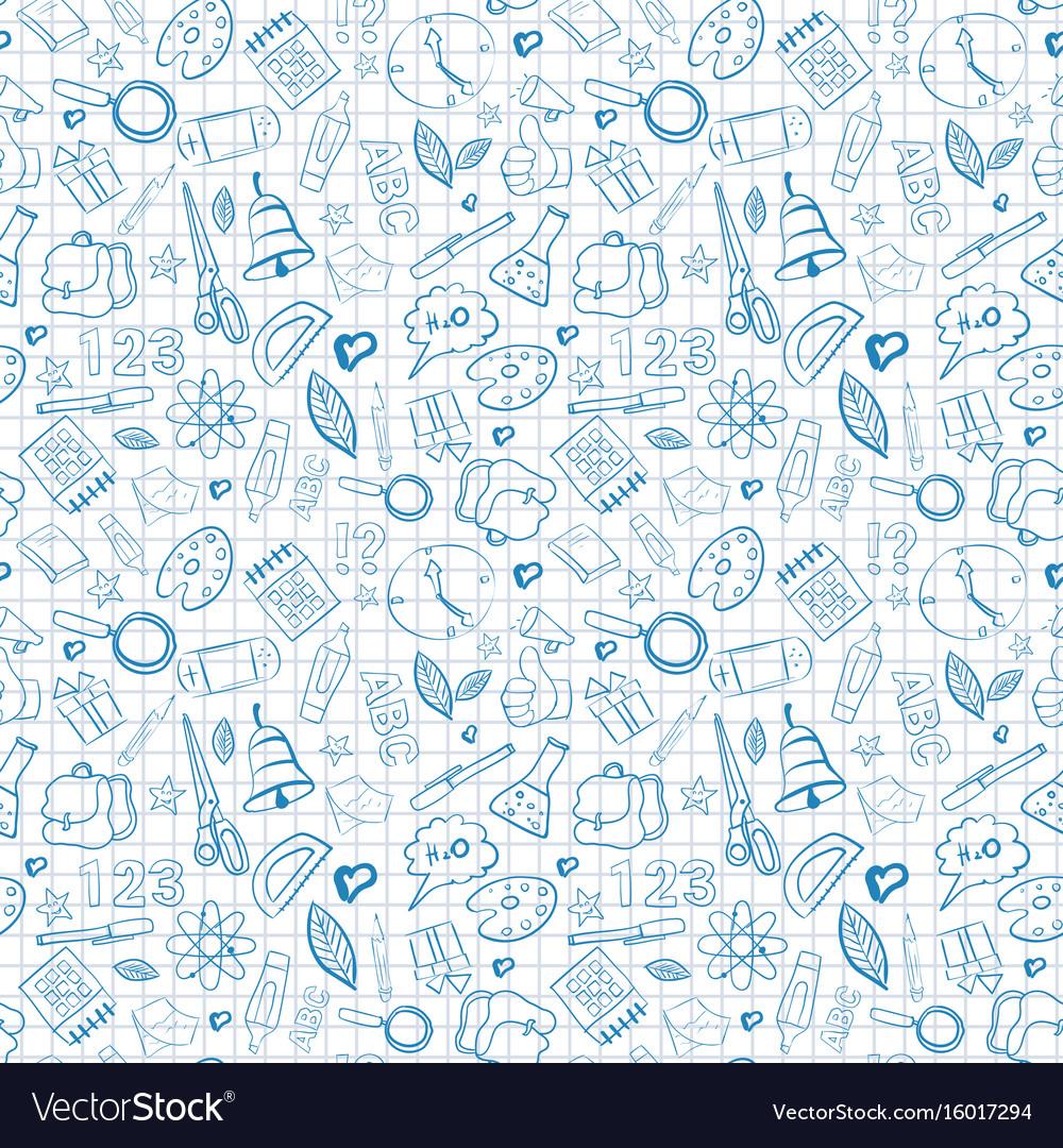 School supplies seamless pattern doodle hand drawn