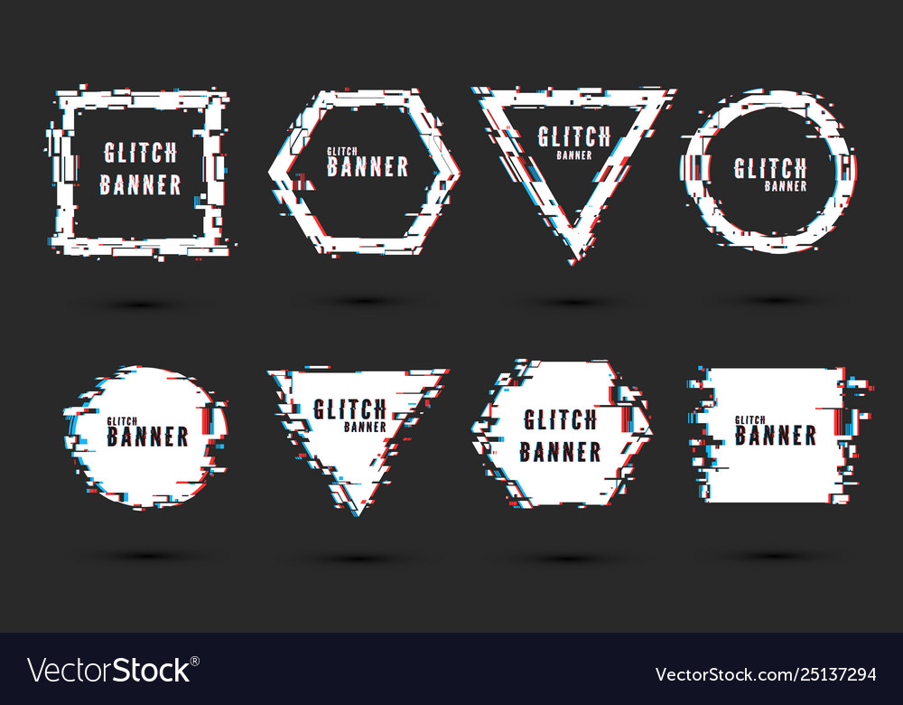 Set frames and banners with glitch effect