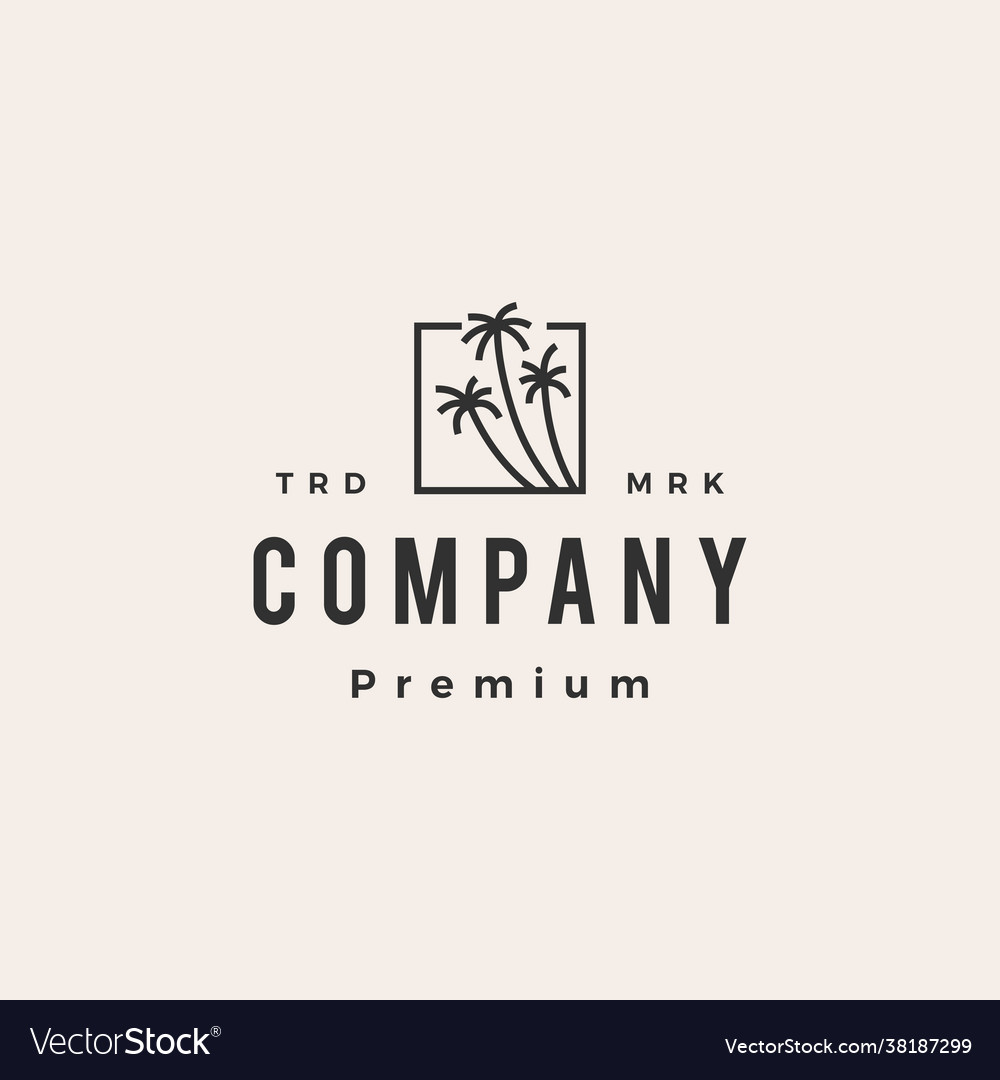 Coconut tree square palm hipster vintage logo icon
