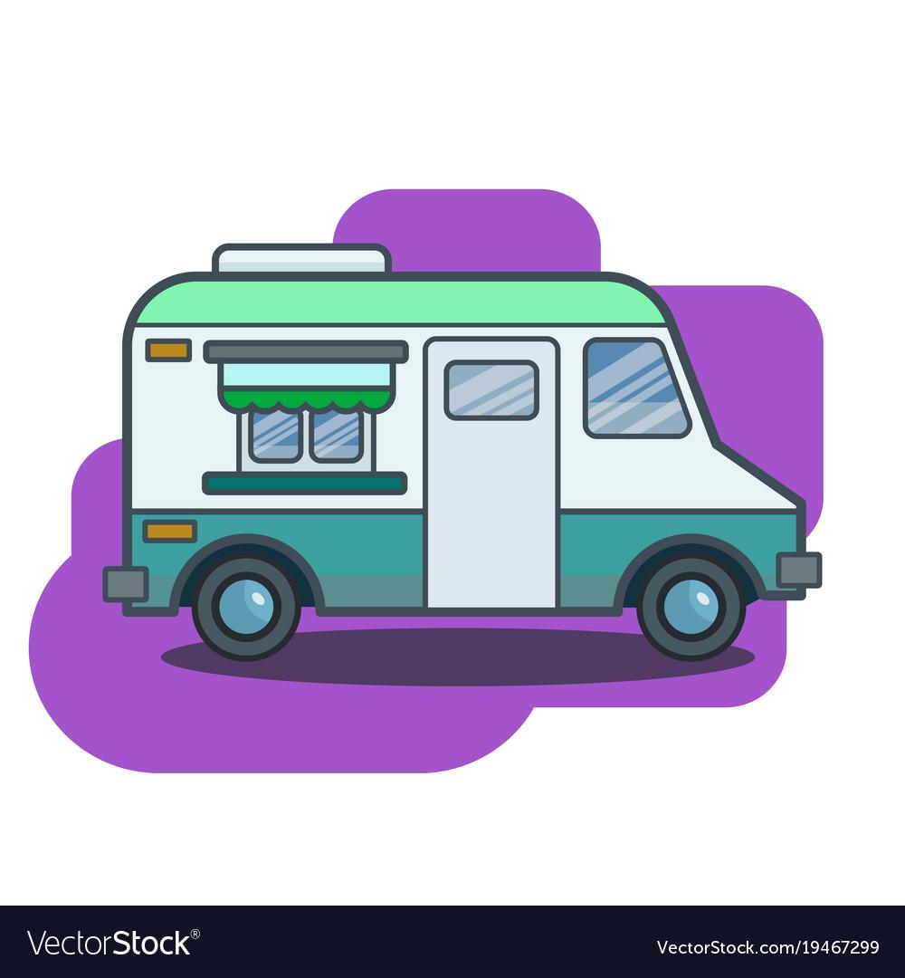 Cute Retro Food Truck In Flat Cartoon Vector Image