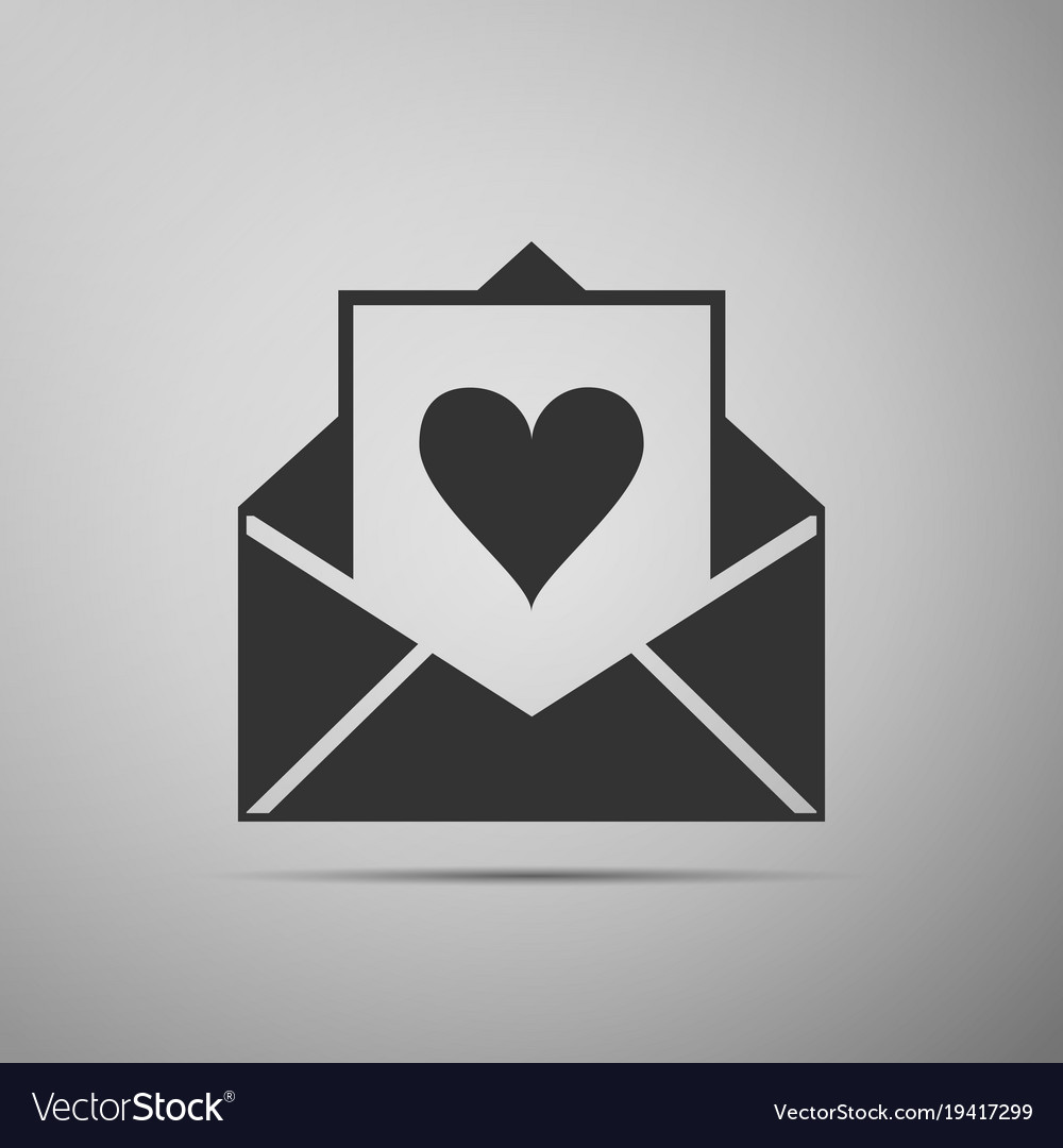 Envelope with valentine heart icon valentines day