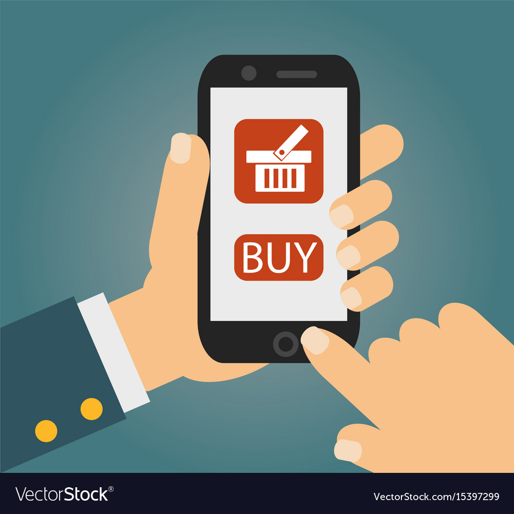 Hand holing smart phone with buy button on the