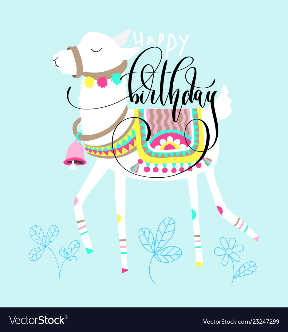Happy Birthday Greeting Card White Llama On Blue Vector Image On Vectorstock