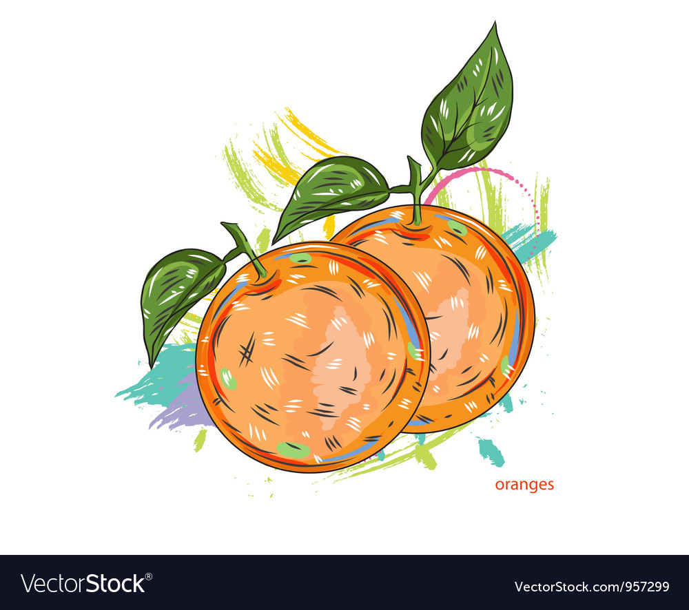 Oranges with colorful splashes