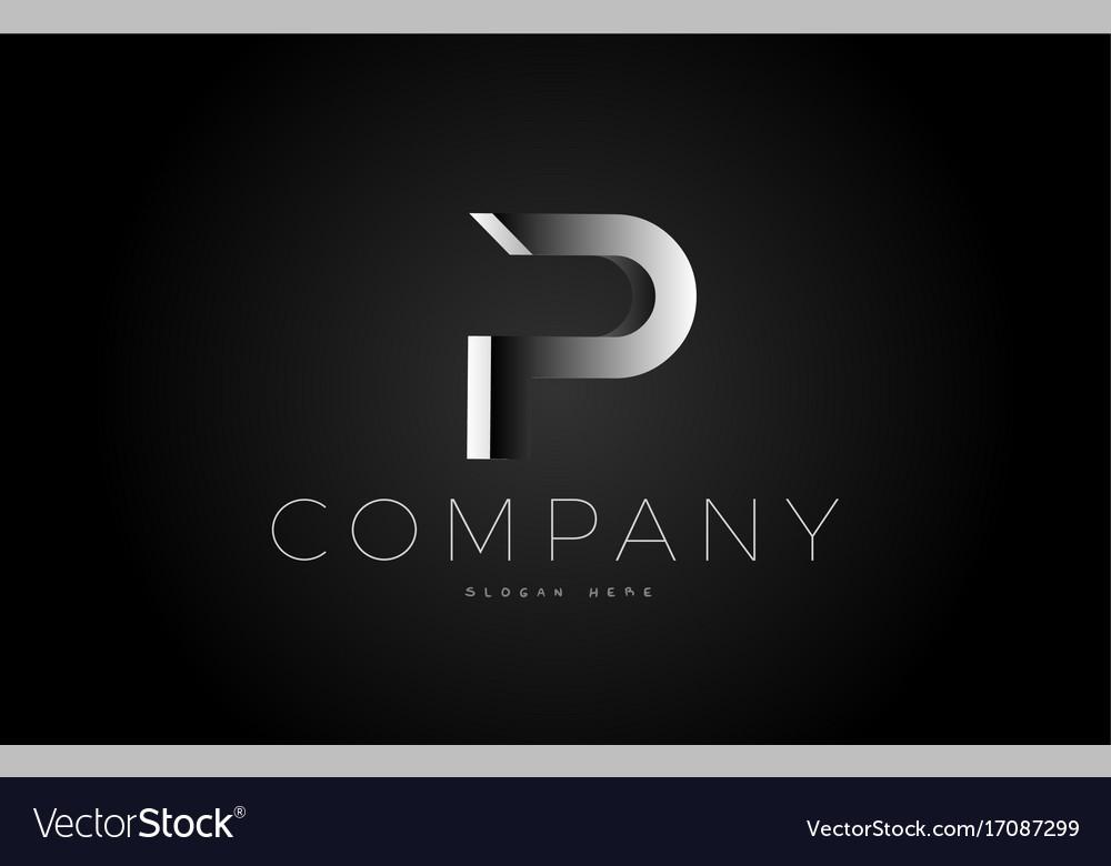 P black white silver letter logo design icon