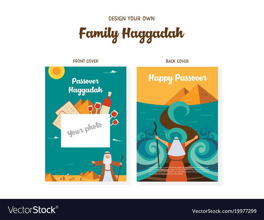 Passover haggadah design template- haggadah book vector image
