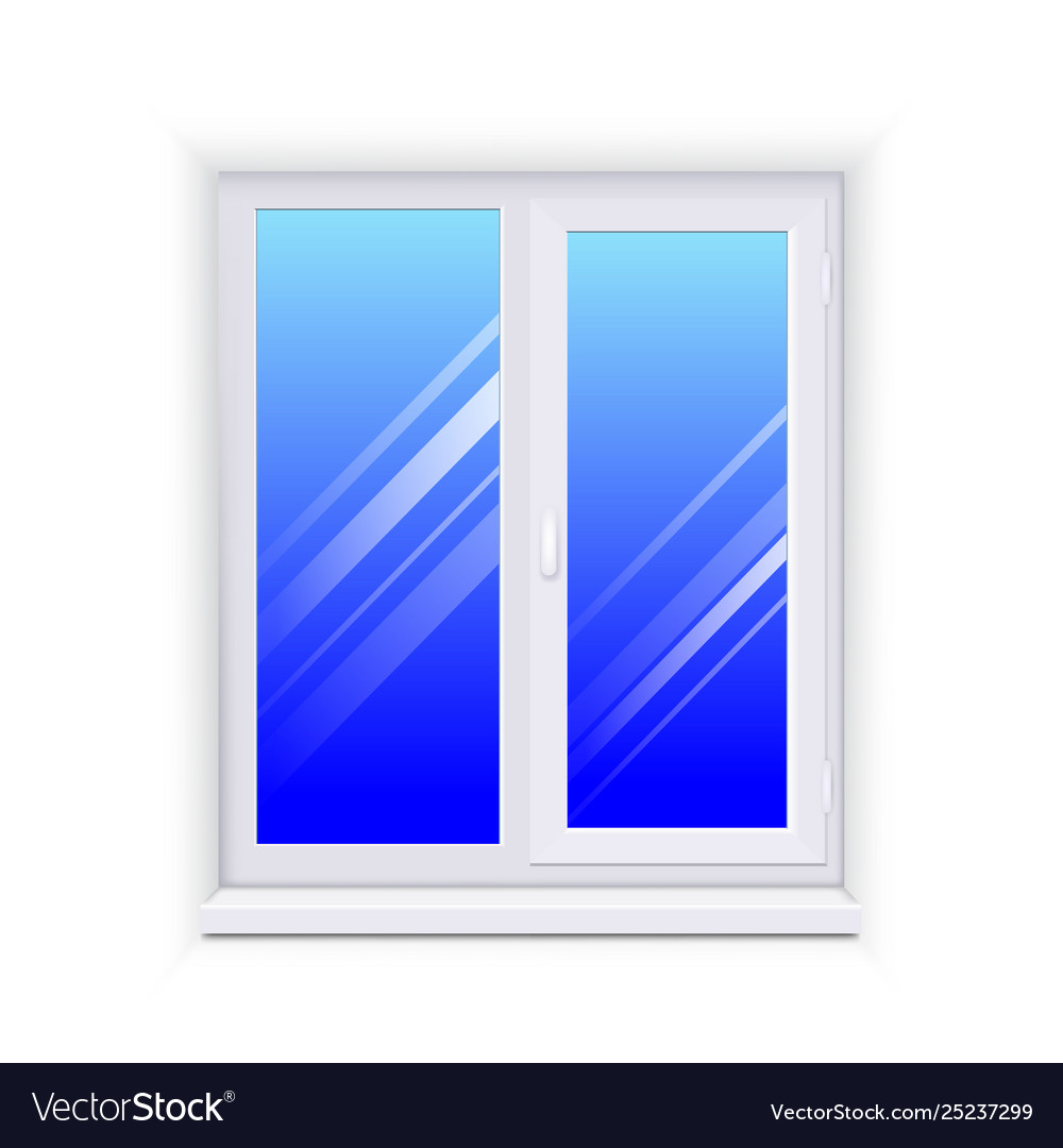 Realistic glass window with sill