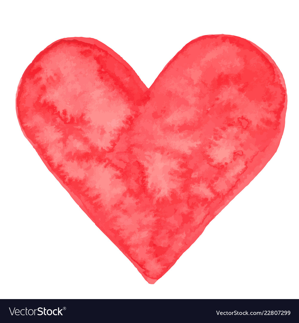 Red watercolor heart isolated