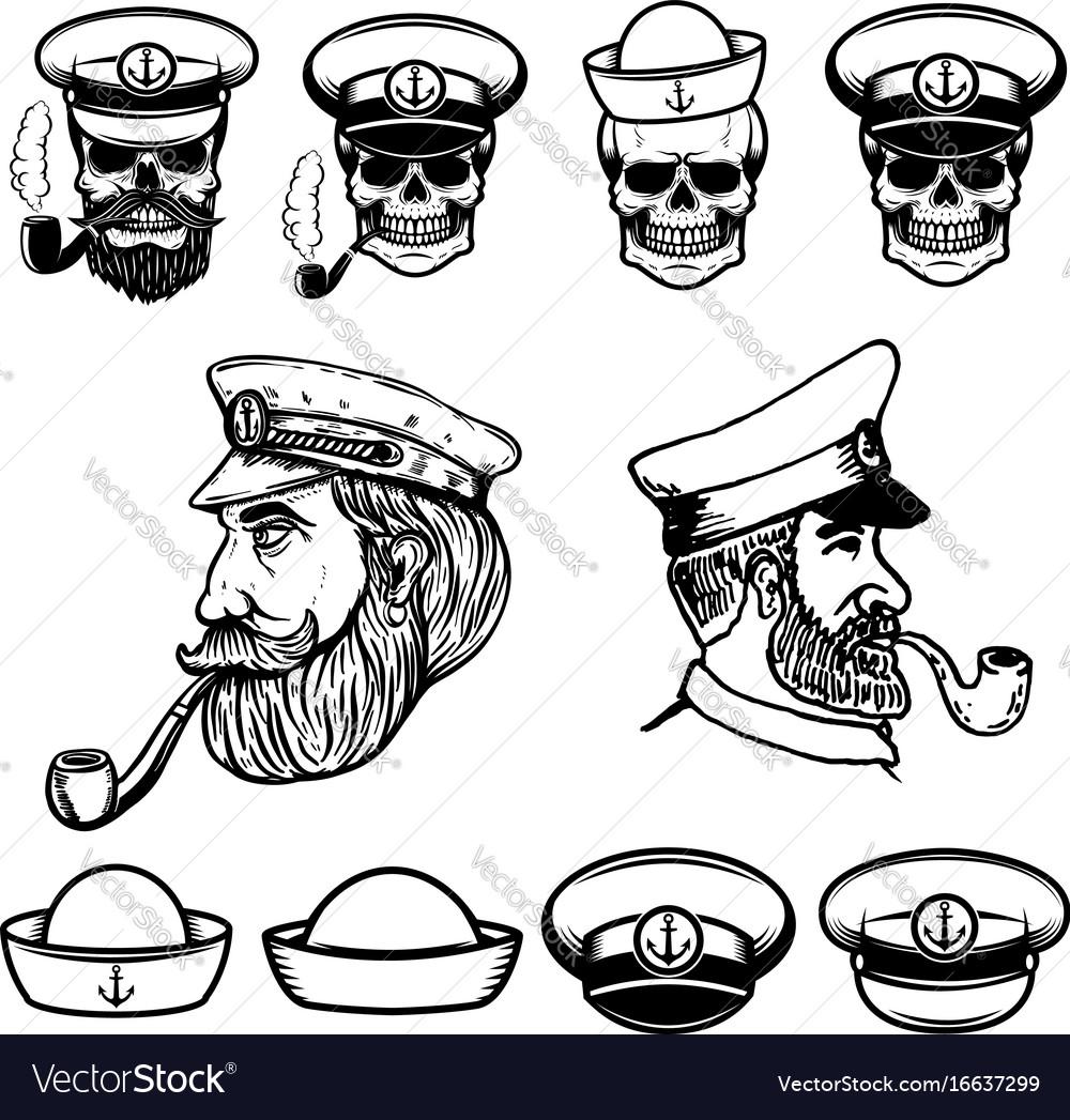 Sea captain skulls in sailor hats