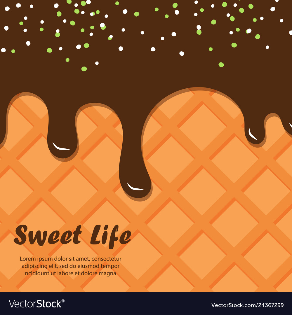 Wafer and chocolate background ice cream