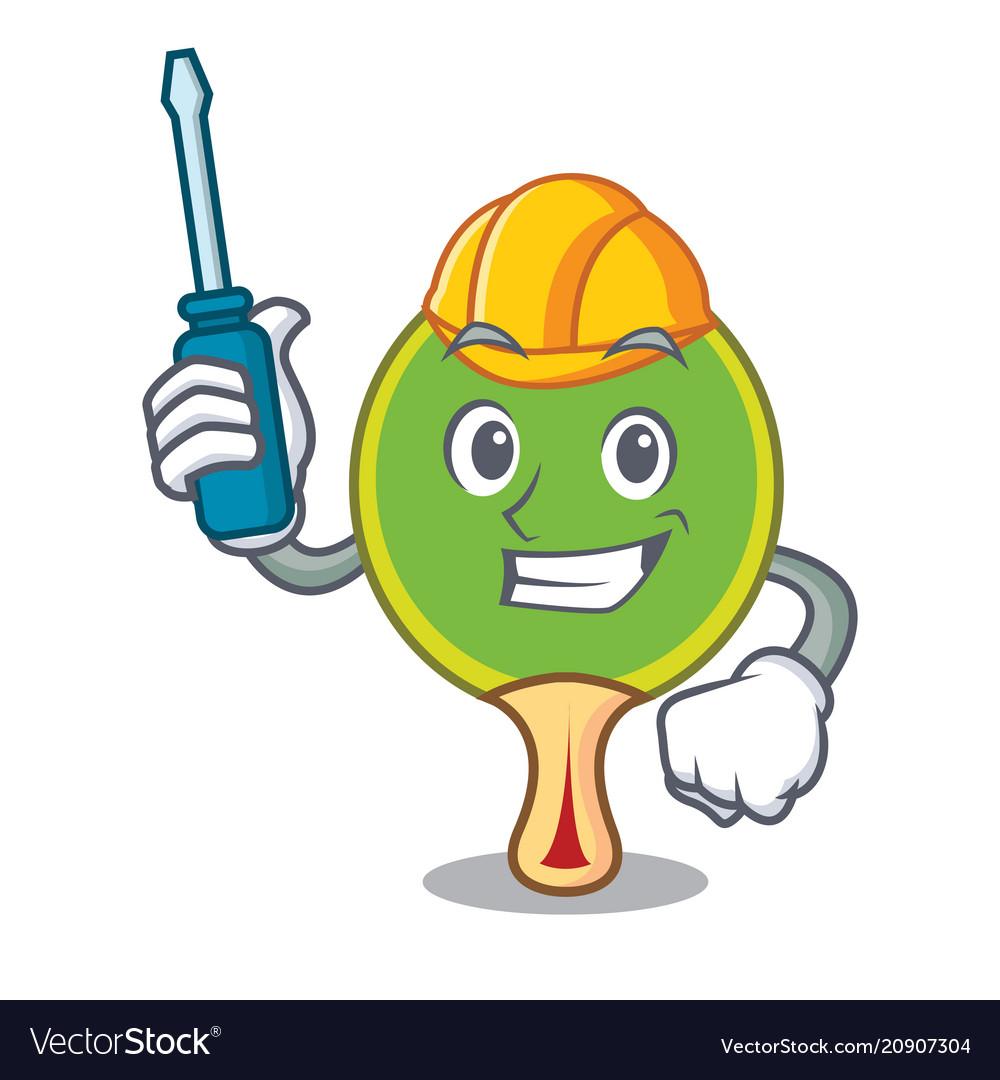 Automotive ping pong racket mascot cartoon