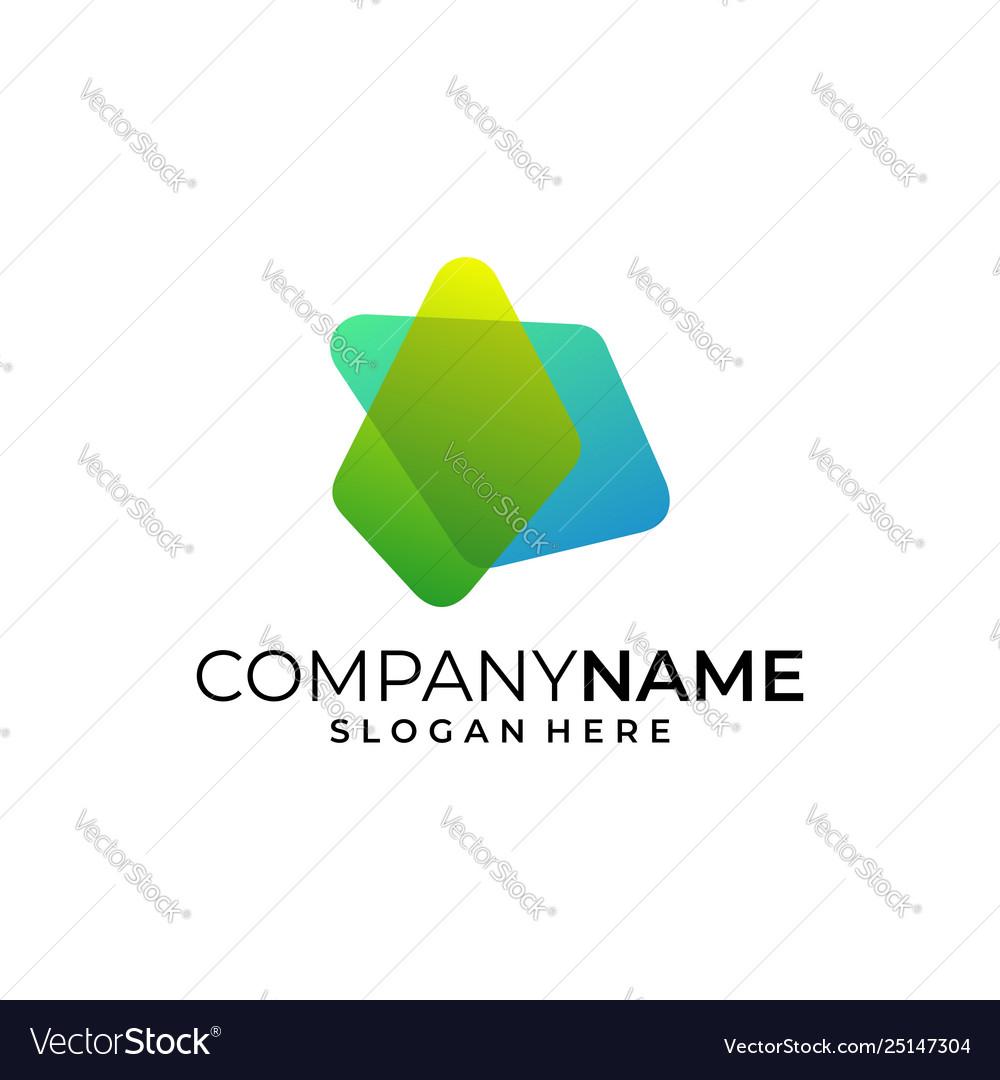 Colorful play logo design template creative