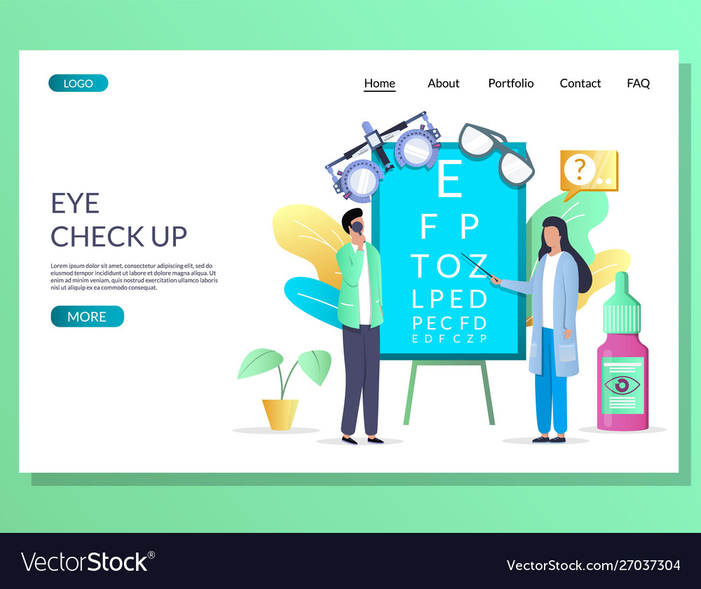 Eye check up website landing page design