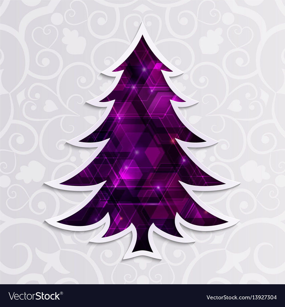 Glowing purple christmas tree isolated on the