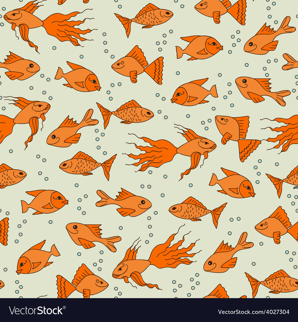 Gold fish in water seamless pattern