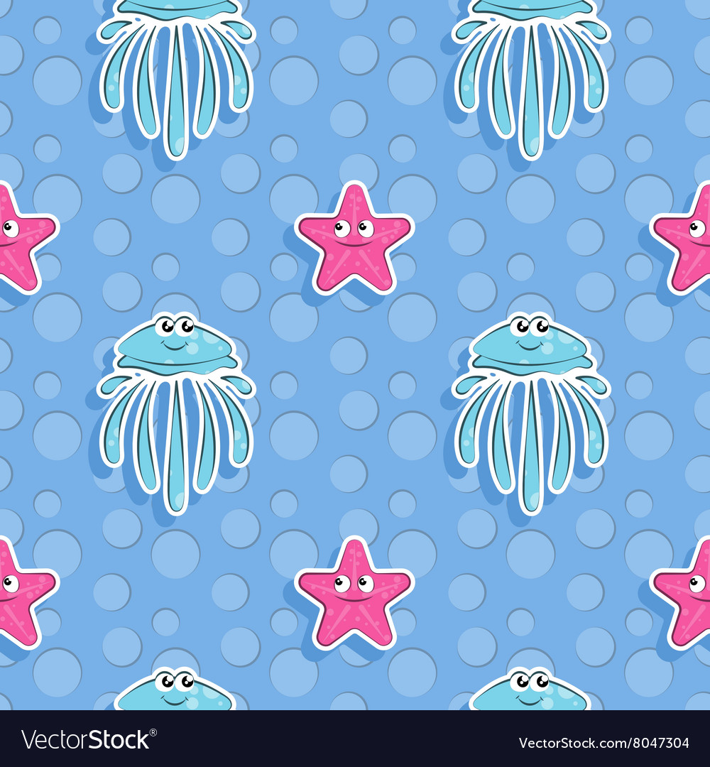 Sea seamless pattern with funny jellyfish