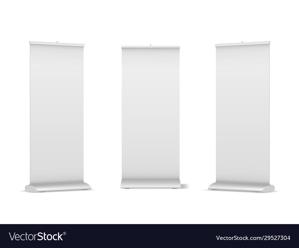 Set blank roll-up pop-up or pull-up banner