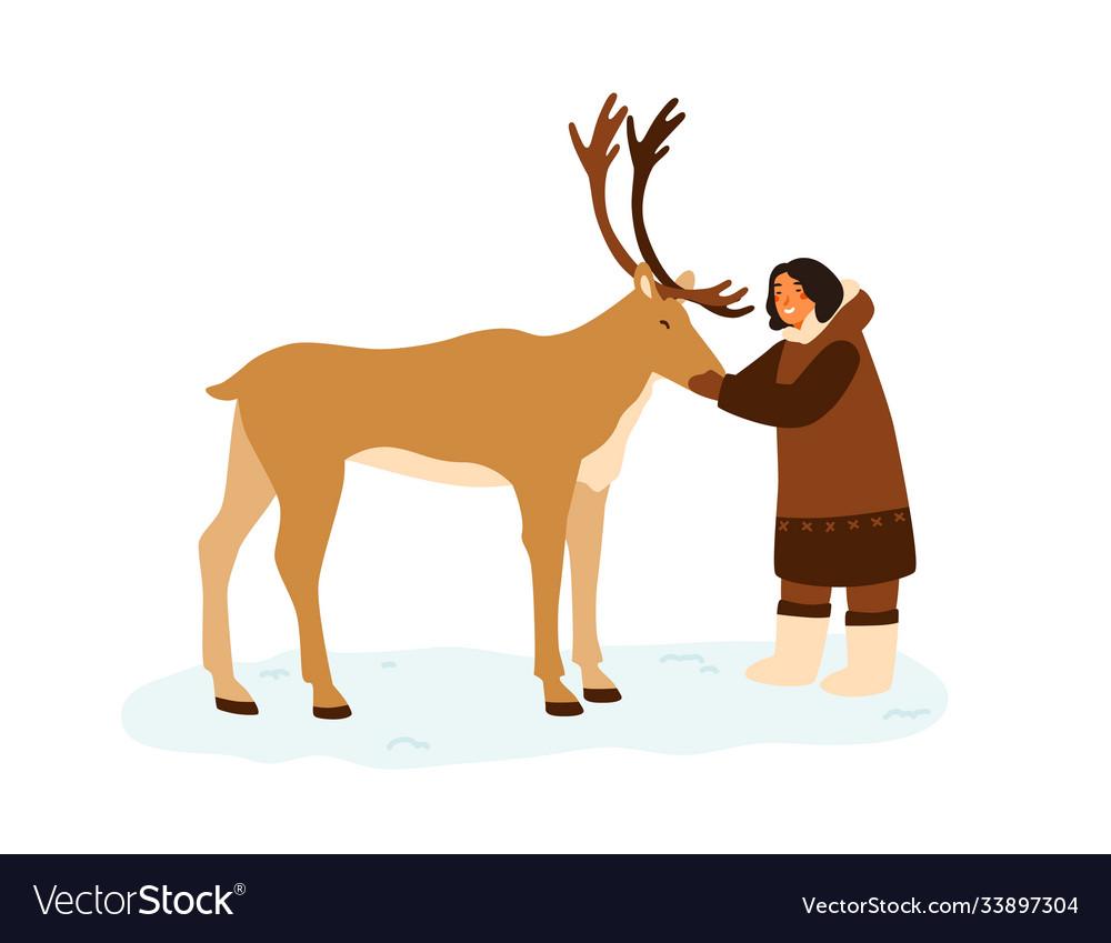 Smiling eskimo woman hugging reindeer flat
