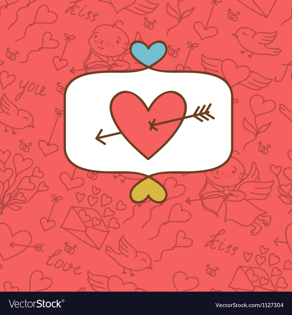 Valentines day love postcard with hand drawn vector image