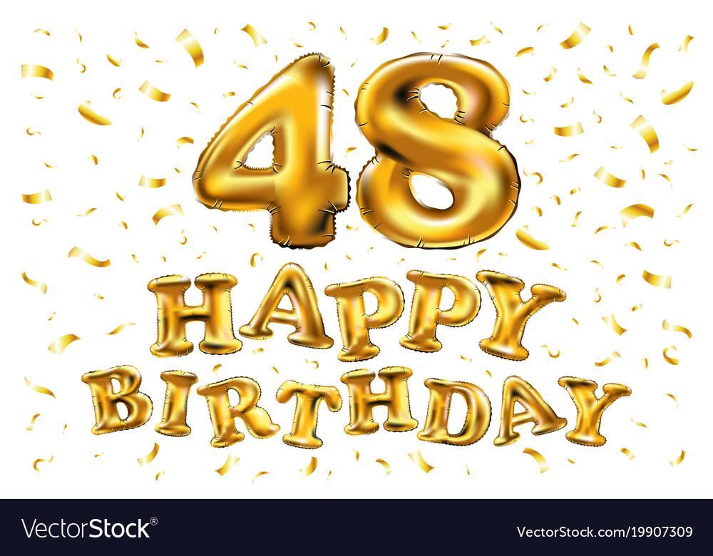 48 years golden aluminum foil balloon anniversary vector image