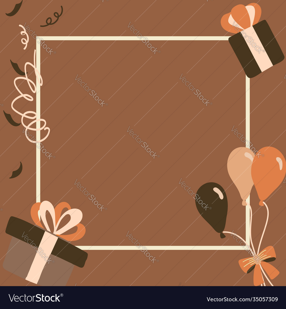 Brown gift boxes happy birthday in square