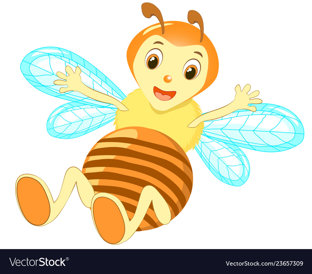 Cartoon cute bee pointing